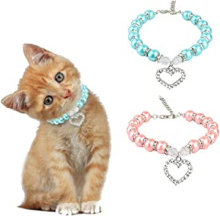 Stock Show 2Pcs/Pack Pet Pearl Necklace with Love Heart Pendant Dog Cat Fancy Princess Style Blingbling Jewelry Rhinestones Collar for Small Pets Cats Puppy Chihuahua Yorkie, Pink&Blue