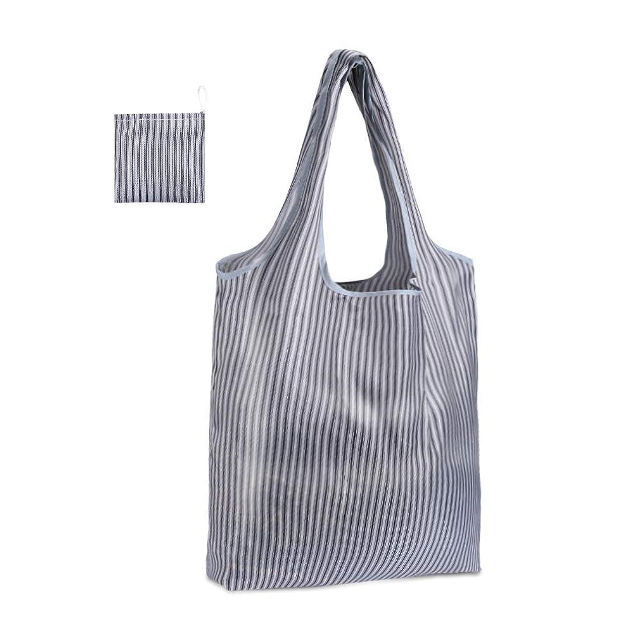 白菜癒す恨みEtercycle 買い物袋 エコバッグ 折りたたみ トートバッグ 防水素材 収納袋 男女兼用 (6Pcs グレーストライプ)