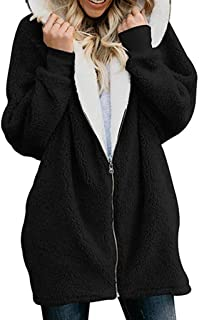 Women Faux Fur Hooded Coat, Zip Up Fuzzy Fleece Overcoats Teddy Bear Jacket Winter Warm Outerwear Ladies Overcoats