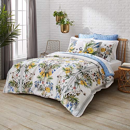 Ted Baker Royal Palm 2-Piece Cotton Sateen Duvet Cover Set w/Shams, Flower Design, 68ʺW x 88ʺL, Twin, White