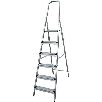 Escalera de aluminio 6 peldaños: Amazon.es: Bricolaje y herramientas