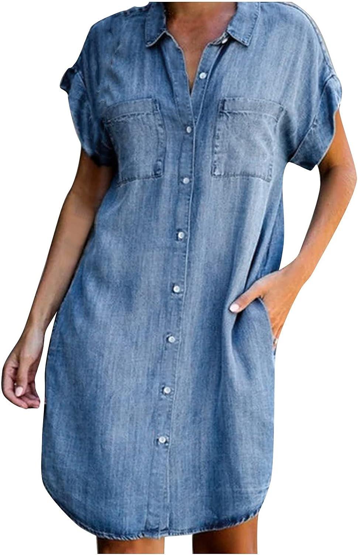 ManxiVoo Women's Denim Midi Dress Lapel Collar Button Down Pockets Curved Hem Shirt Dress Short Dress