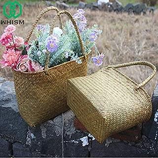 | Storage Baskets | Nature Straw Storage Bags Handmade Storage Box Women Handbag Womens Shoulder Bag Woven Storage Basket Seagrass Flower Bags | by HERIUS