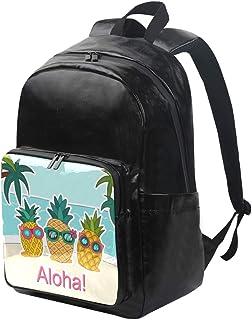 DEZIRO Aloha - Mochila de lona con diseño de piña con gafas de sol, mochila de viaje, mochila plegable, correas de hombro ajustables para exteriores