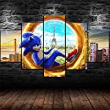 Premium Canvas Art Print Wall Deco XXL Giclee Canvas Print, Wall Art Canvas Picture 5 Pieces,Sonnic Hedgehog Movie Canvas Picture Stretched On A Frame Canvas