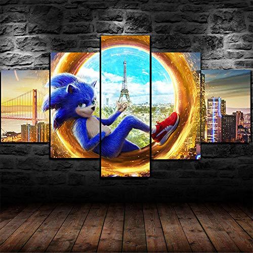 axqisqx Sonic The Hedgehog Movie Poster 5 Piezas Lienzo impresión Pared Arte decoración 100x55cm-Marco