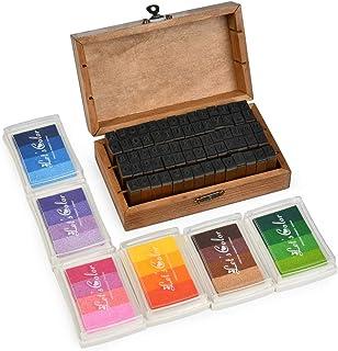 70 Pcs Alphabet Stamp Set Vintage Wooden Rubber Letter Number and Symbol Stamp Set with 6 Colorful Ink Pad, Multipurpose D...