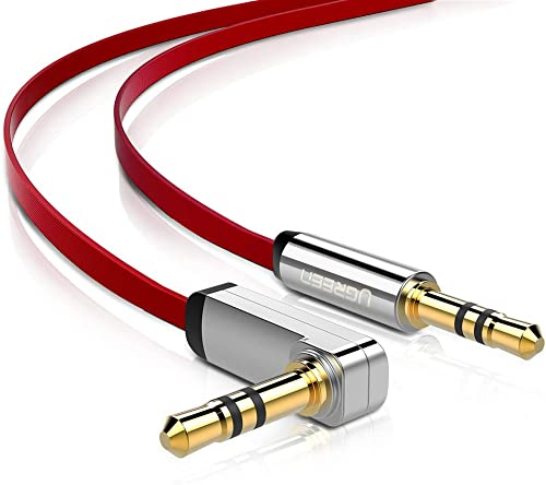 new arrival UGREEN 3.5mm Audio Cable Stereo Aux Jack to Jack Cable 90 Degree Right Angle Auxiliary Cord Compatible for Beats iPhone iPod iPad Tablets sale Speakers 24K Gold Plated Male to Male Red sale 3FT online sale