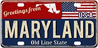 InterestPrint Greetings from Maryland Rusty Metal Sign with American Flag Metal License Plate for Car, Metal Auto Tag for Woman Man, 12 x 6 Inch
