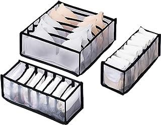 Homthia Underwear Organizer Drawer Nylon Divider Foldable Closet Storage Boxes for Underware,Bra,Socks (1 Set-3 PCS, Black)
