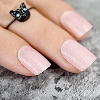 CoolNail Baby Pink Short False Nails Tips Light Pink with Shimmer Glitter Full Cover Artificial Fake Nail for Home Office faux ongles