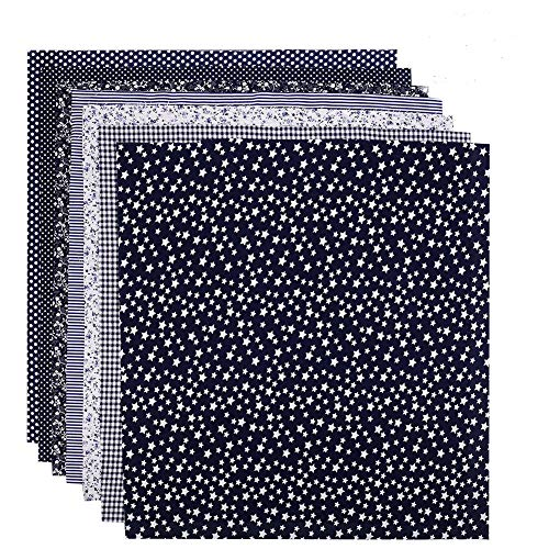 tiopeia 7 Stück 50 x 50cm Baumwollstoff Patchwork Stoffe Stoffpakete Baumwolle Stoffreste Quadrate Bündel Quilten Scrapbooking Nähen Artcraft DIY Stoff(Marine)