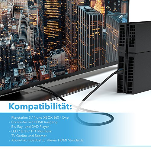 2m HDMI Kabel 1.4a / 2.0 Ultra HD 4k| High Speed with Ethernet | neues Modell 3 Fach geschirmt/inkl. Stecker- und Kontaktschirmung | 4K Ultra HD 2160p / Full HD 1080p | 3D / ARC/CEC | Zwei Meter