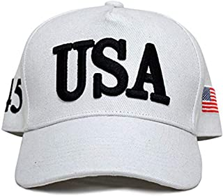 ROWILUX USA 45 Trump Make America Great Again Embroidered Hat with Flag