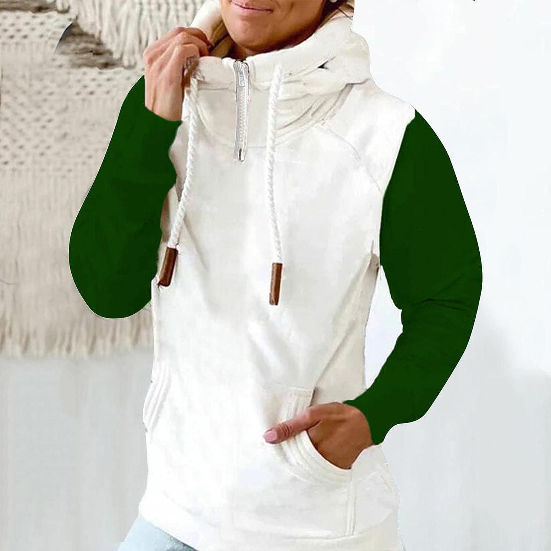 Women's Hoodies Long Sleeve Shirt Casual Color Block Tee Shirt Fall Clothes for Women Tops Drawstring Pullover Sweatshirts
