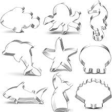 Ocean Creature Mermaid Cookie Cutters Set - 9 PCS Dolphin, Clownfish,Mermaid Tail,Octopus, Seahorse,Starfish,Seashell,Jell...