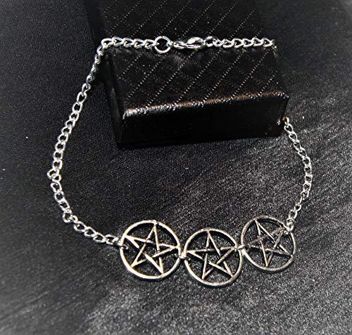 Handmade Unisex Silver Plated Triple Pentagram Chain Anklet Ankle Bracelet