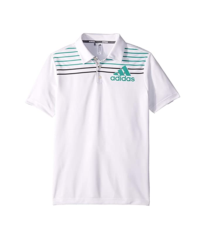 adidas Golf Kids  Badge of Sport Polo (Little Kids/Big Kids) (White/Grey Two) Boys Short Sleeve Knit