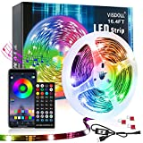 VISDOLL Led Lights for Bedroom, WS2812B RGB 16.4ft Smart Programmable Pixels Dream Color Strip Lights, Individually Addressable Bluetooth led Strips with App Control, Music Sync Led USB Tape Light
