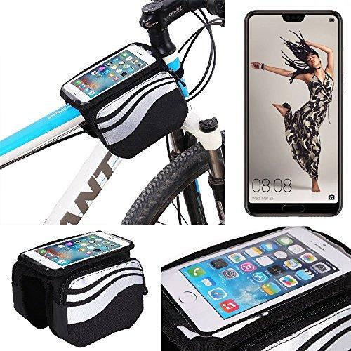 K-S-Trade® Rahmentasche Für Huawei P20 Pro Single-SIM Rahmenhalterung Fahrradhalterung Fahrrad Handyhalterung Fahrradtasche Handy Smartphone Halterung Bike Mount Wasserabweisend, Silber-schwarz
