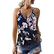 Xturfuo Women's Tops Print Vest V-Neck Sling T-Shirt Summer Sleeveless Blouse