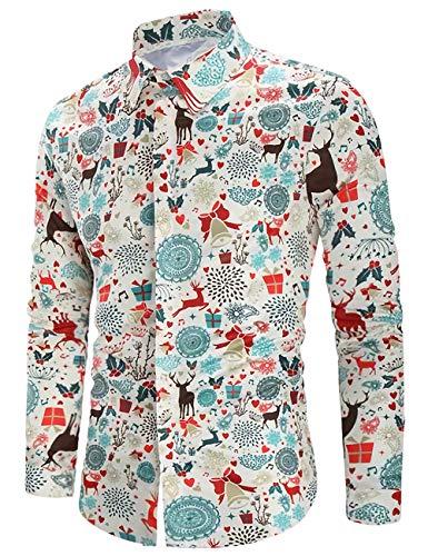 Goodstoworld Button Down Hemd Herren Männer Langarm Weihnachthemden Herrenhemd 3D Bunte Bügelfreie Langärm Slim Fit Freizeithemd Christmas Shirts XL
