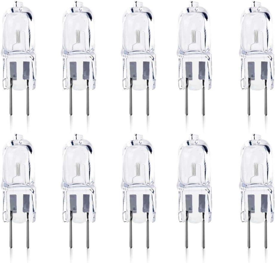 DoRight Bombillas Halógenas GY6.35/G6.35 AC/DC 12V Super Bright 35W Bi-pin JC Type Soft Warm White 2700K Accent Puck Light 2-Pin Base Landscape Lighting Clear Glass Bulb for Desk Lamp(10-Pack)