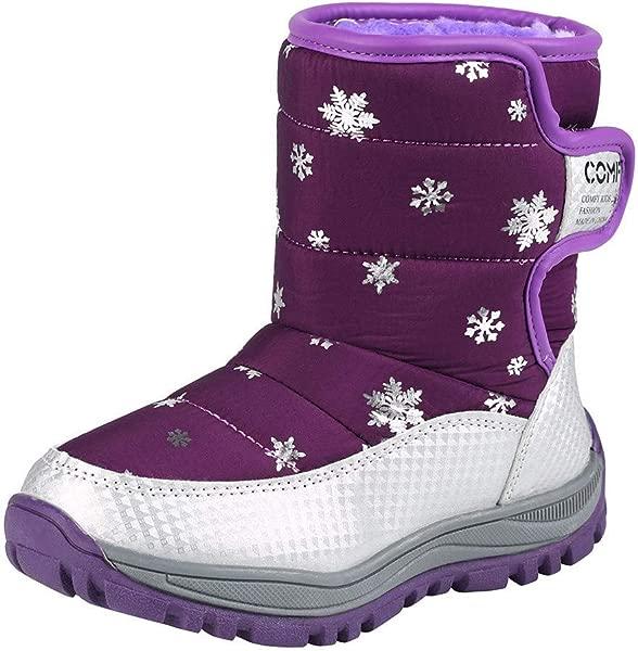 Pongfunsy 儿童雪地靴鞋冬季靴子时尚儿童鞋学生运动鞋靴子