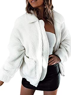 Famulily Women's Faux Shearling Coat Oversized Fleece Lapel Zipper Jacket Outwear with Pockets