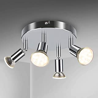 schwenkbar 4 x 4W GU 10 Deckenlampe Warmwei/ß Spotbalken Energieklasse A+ Deckenleuchte LED Deckenstrahler Tomshine Spotleuchte 4 Flammig dreh