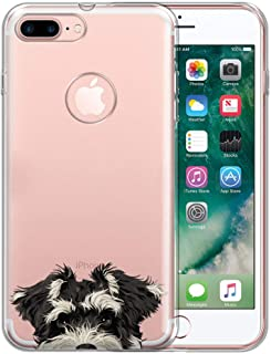 FINCIBO Case Compatible with Apple iPhone 7 Plus/ 8 Plus, Clear Transparent TPU Silicone Protector Case Cover Soft Gel Skin for iPhone 7 Plus / 8 Plus (NOT FIT iPhone 7/8) - Schnauzer Puppy Dog