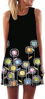 Beihxwe Women Casual Dandelion Print Sleeveless Mini Dress Summer Minimalist Round Neck Trim Party Swing Sundress