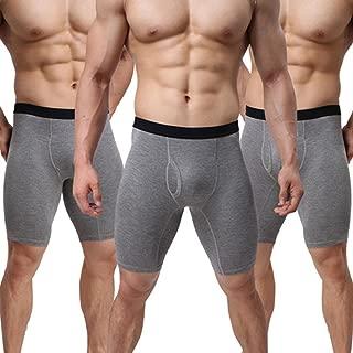 Men Underwear Cotton Boxers Briefs 3 Pack U Convex Pouch Long Leg Underpants L-XXL