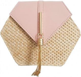 GSERA Hexagon Mulit Style Stroh + Leder Handtasche Frauen Rattan Tasche Handgefertigt Gewebt Beach Circle Bohemia Umhänget...