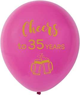 Pink cheers to 35 years latex balloons, 12inch (16pcs) 35th birthday decorations party supplies for man and woman