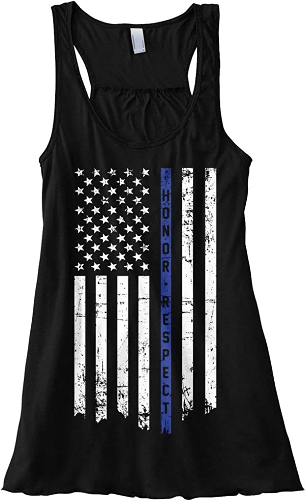 Special price for a limited time Threadrock Women's Honor lowest price Respect Thin Blue Line Flowy Racer Flag