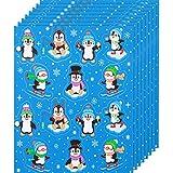 8 Fogli di Adesivi di Pinguini Adesivi Invernali Sticker di Pinguino Fumetto in PVC Impermeabile Assortito per Festa Invernale Decorazioni per Aule di Cancelleria, 112 Pezzi in Totale
