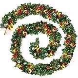 Llp 9 pies / 270cm Verde Llano Garland de Navidad con Blanco cálido llevó la luz Artificial de la Guirnalda de la decoración del árbol Chimenea