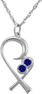 The Mommy Pendant for Twins - Mother Embracing Child in Silver with Twin Birthstones and 18