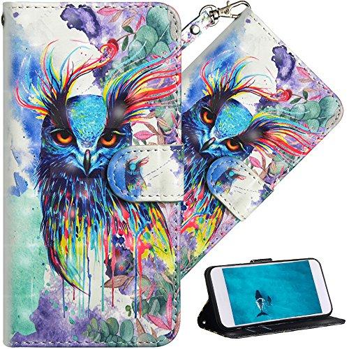 COTDINFOR pour LG Q6 Custodia Cover TPU 3D Effect Painted PU in Pelle con Wallet Card Holder Flip Custodia per LG Q6 / Q6 Plus / Q6 Prime(5.5in Watercolor Owl YX.
