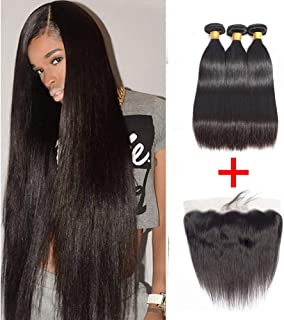 Brazilian Straight Human Hair 2 Bundles With 13X4 Lace Frontal Free Part Closure (22