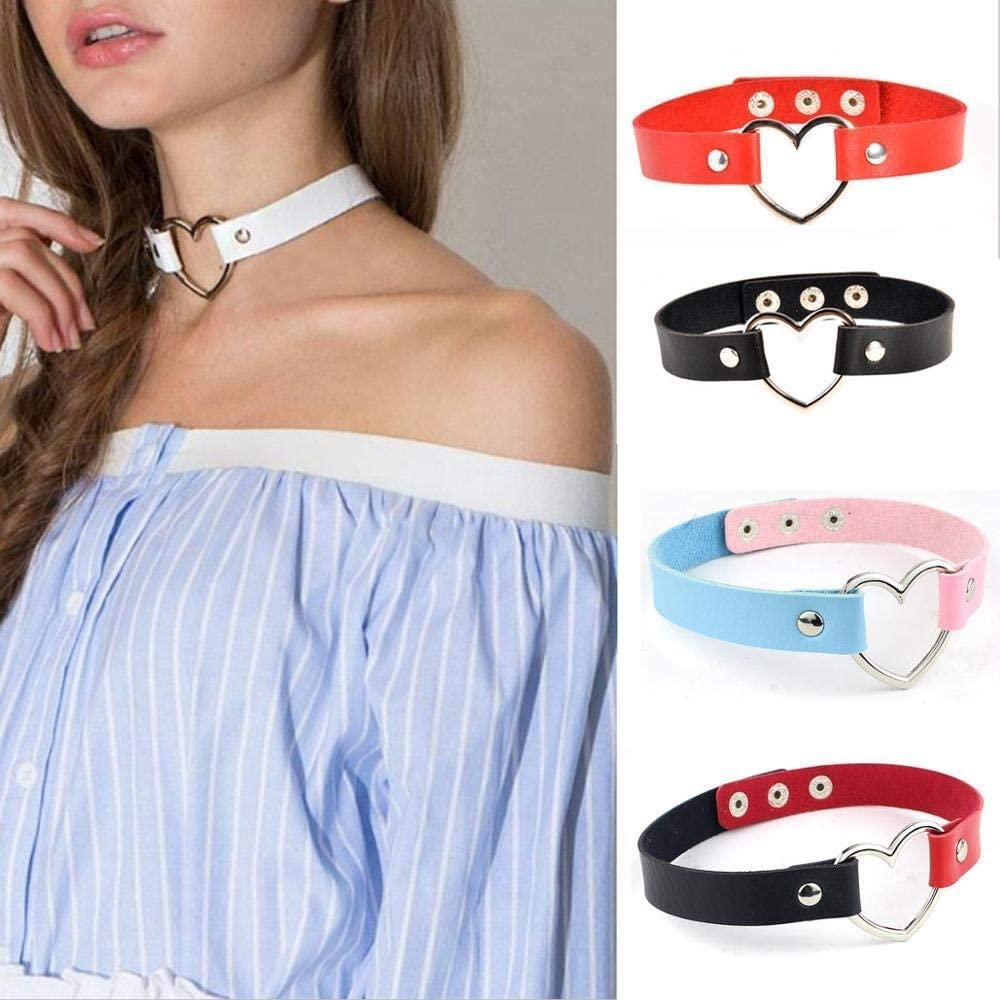 SHOYY Punk Leather Handmade Charm Chokers Necklaces Women Heart Buckle Belt Charm Kawaii Loli Metal Necklace Collar (Metal Color : Red 76)