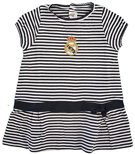 Real Madrid FC Baby Mädchen (0-24 Monate) Plissee Kleid Weiß Schwarz, Plissee, RM57, Weiß, RM57 86
