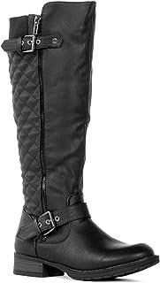 RF ROOM OF FASHION Lady's Regular Calf Knee High Riding Boots (Medium Calf) BLACK Size.6