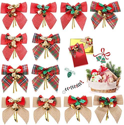 INTVN Weihnachtsbogen Band Bogen für Weihnachtsbaum, Weihnachtskranz, Weihnachtsdeko Weihnachten Baumschmuck Schleifen Mini Leinen Kariert Geschenkschleife Glocken Bowknot mit Jingle Bell 12 Stücke