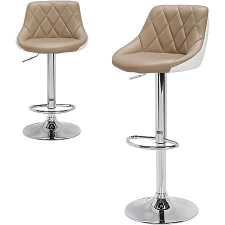 E-starain Tabourets de Bar/Chaise de Bar Scandinave/Tabouret pivotant Réglable et Adjustable pour Bar/Lot de 2 /Kaki