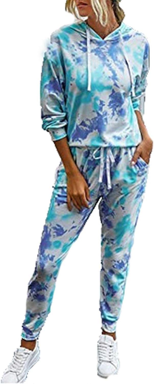 Womens Pajama Sets Plus Size,Tie Dye Printed Pajamas Set Long Sleeve Tops Hooded with Loungewear Set 2 Pieces Sleepwear