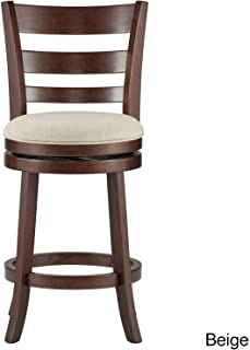 Inspire Q Verona Linen Ladder Back Swivel 24-inch High Back Counter Height Stool by Classic Beige