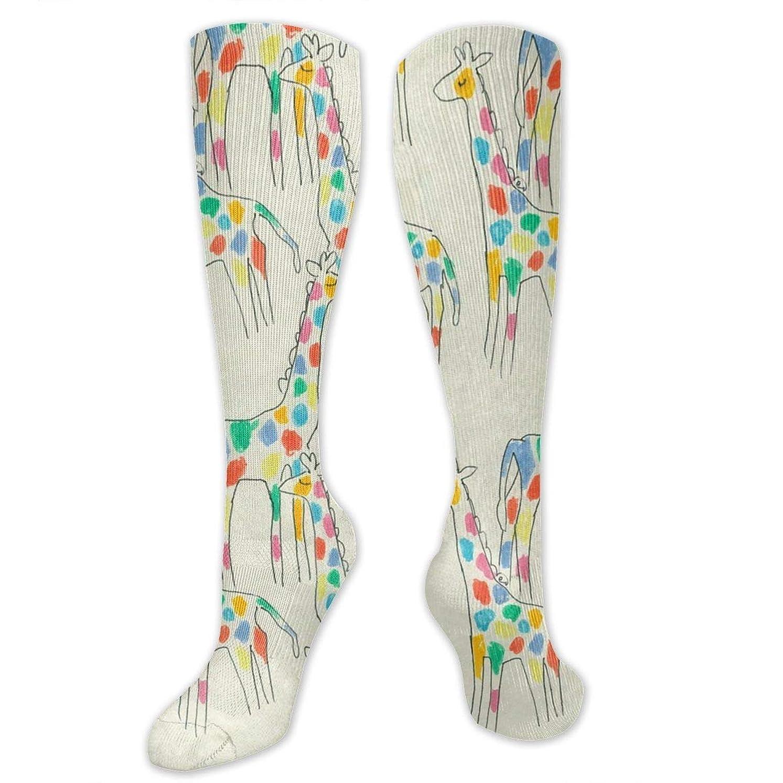 に勝る光の薄いです靴下,ストッキング,野生のジョーカー,実際,秋の本質,冬必須,サマーウェア&RBXAA Women's Winter Cotton Long Tube Socks Knee High Graduated Compression Socks Rainbow Giraffes Socks