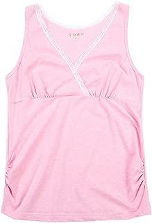 JUNZENIA Nursing Camis Women Maternity Tank Top Short Sleeve Breastfeeding Cotton T-Shirt Pink